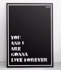 Details about Oasis Poster - Live Forever - Typographic Lyrics / Wall Art /  Print / Art
