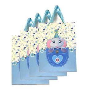 Lagiwa-Lot-de-4-Sacs-Papier-Cadeaux-ELEPHANT-3D-cartonne-24-cm-x-18-cm-x-8-cm