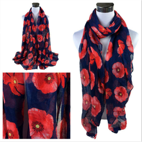 Ladies Poppy Print Floral Scarf Remembrance Day Poppies Scarves Wrap Shawl  @I
