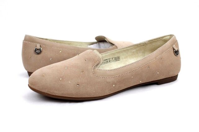 c22dd6a2487 UGG AUSTRALIA BENTLIE DIAMOND QUILT NATURAL BLING SUEDE SHOES SIZE 6.5 US