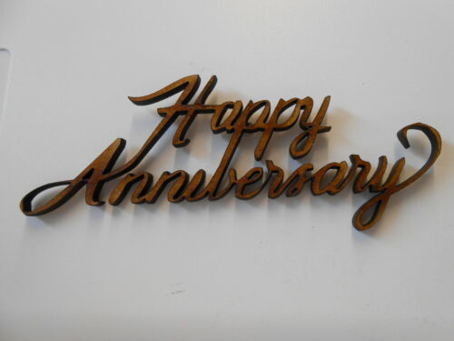 5x WOODEN HAPPY ANNIVERSARY SHAPES gift tag craft card scrapbook embellishment