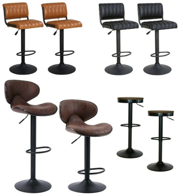 Cool Set Of 2 Vintage Swivel Bar Stools Chairs Matt Black Retro Brown Pub Kitchen Bar Pabps2019 Chair Design Images Pabps2019Com