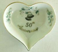 Lefton China 50 Fiftieth Anniversary Heart Shaped Trinket Dish