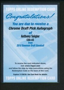 ANTHONY-SEIGLER-AUTO-2018-Bowman-Chrome-Draft-REDEMPTION-CARD-Yankees-Rookie-RC