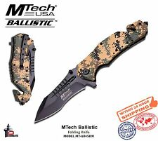 MTech Folding Knife Spring Assisted Desert Camo Beige Handle Clip MT-A845DM