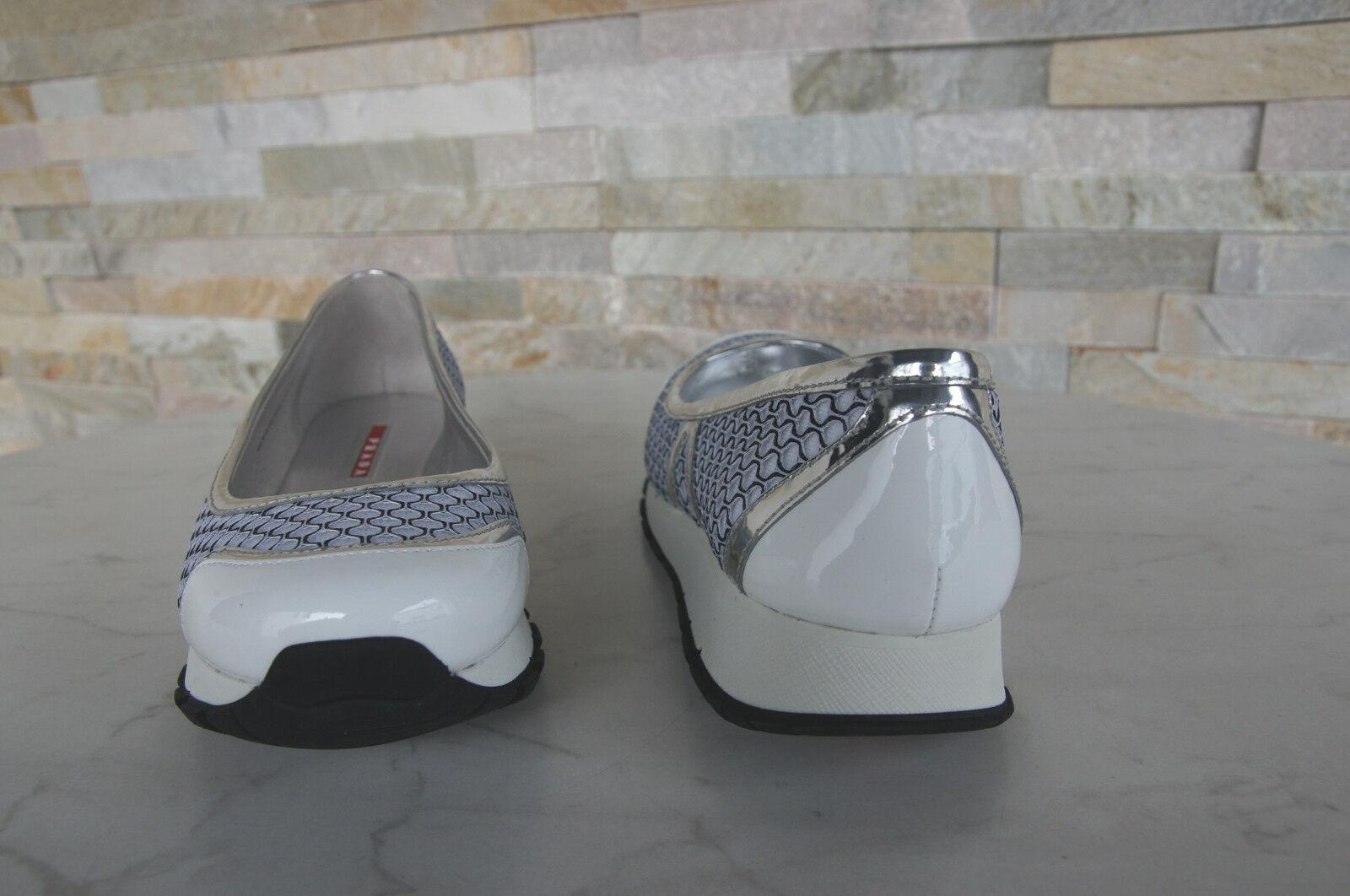 PRADA Gr 38,5 Ballerinas Slipper Schuhe NEU Lack BEE 3F6157 weiss NEU Schuhe c9c8c1
