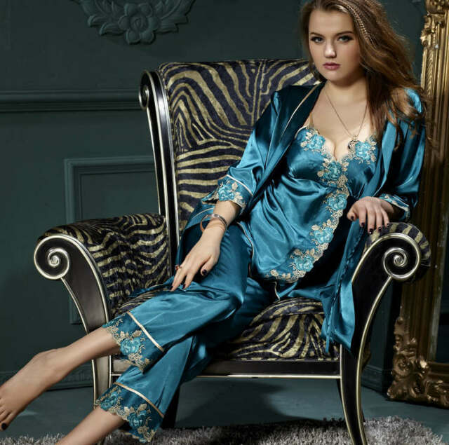 Freeshipping Silk Blend Women Lady's Sleepwear/sleepcoat/pajamas sets M/L/XL/2XL