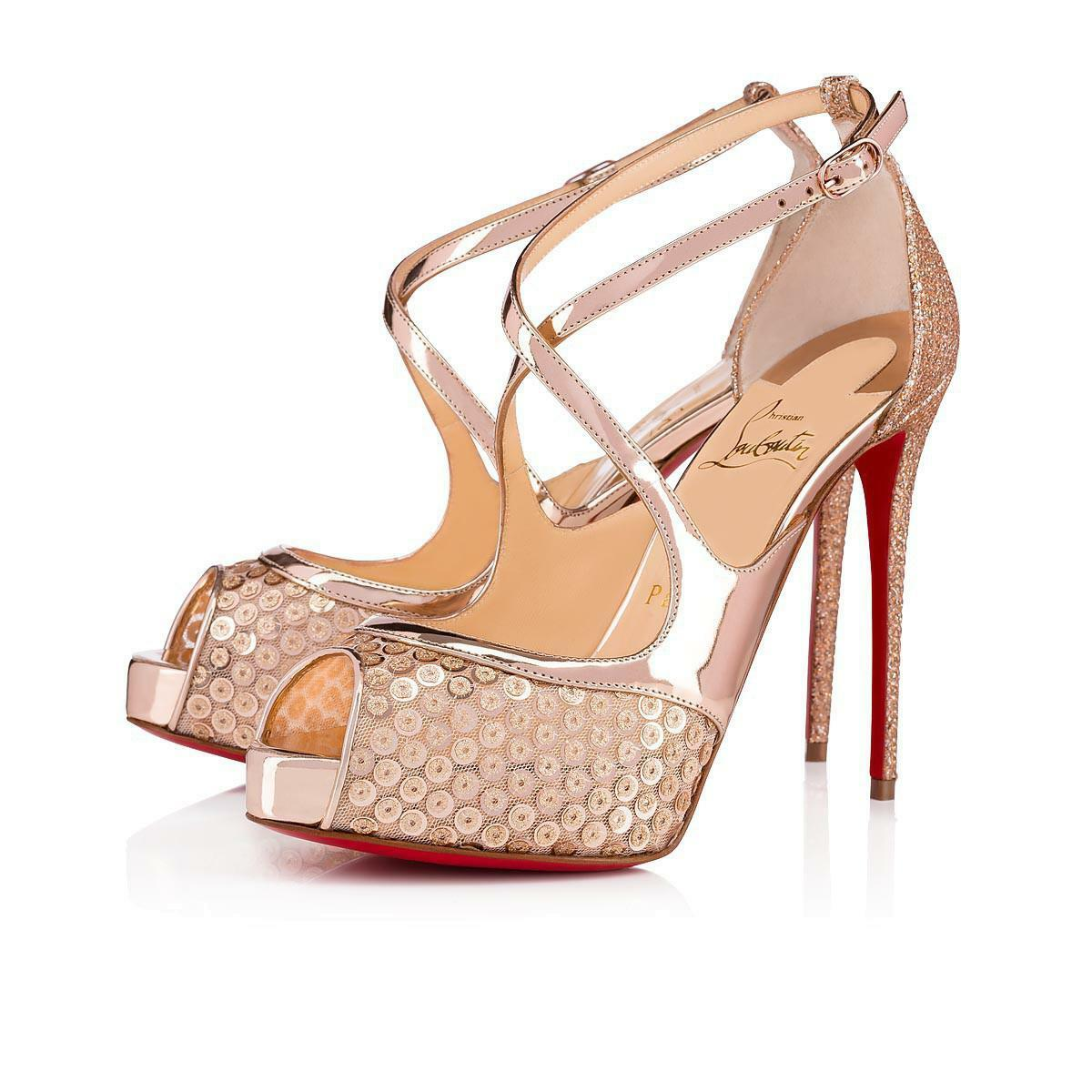 NIB Christian Louboutin Mira Bella 120 Nude or or or Sequin Platform Heel Pump 38 44587a