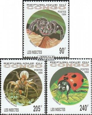 Hearty Congo 1417-1419 Unmounted Mint Never Hinged 1994 Insects And Ara brazzaville