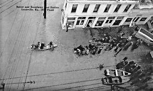 LOUISVILLE-KY-BARRET-amp-BROADWAY-BOAT-STATION-1937-FLOOD-POSTCARD