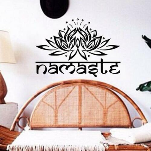 Namaste Yoga Wall Sticker Lotus Flower India Boho Home Decals Sticker T