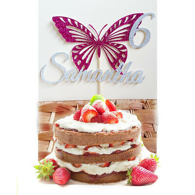 Terrific Butterfly Birthday Cake Topper Personalised Custom Name Age Girls Funny Birthday Cards Online Overcheapnameinfo