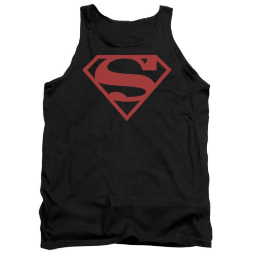 Superman RED ON BLACK SHIELD Licensed Adult Tank Top All Sizes