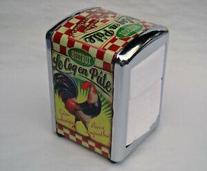 French-Metal-Paper-Napkin-Holder-Dispenser-Rooster-Le-Cog-en-Pate
