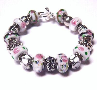 Pink Dot Pattern Black Murano Glass Large Hole Bead for European Charm Bracelets Fashion Jewelry for Women Man