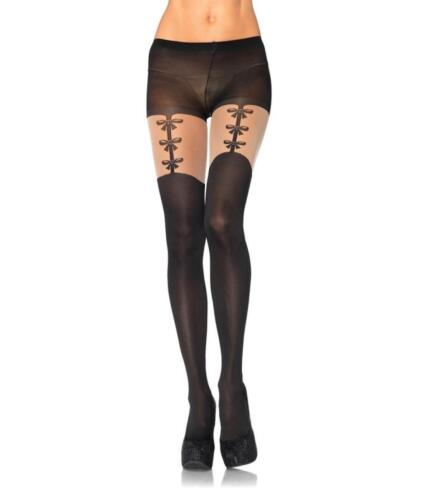 1 Pair Leg Avenue Faux Bow Mock Suspender Tights One Size 94/% Nylon 6/% Spandex