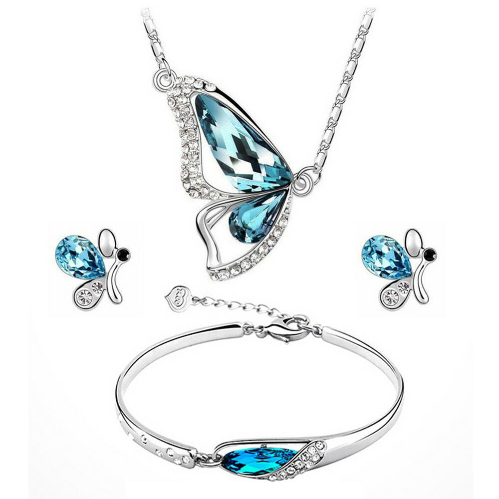 Women Fashion Sweet Butterfly Jewelry Set Necklace + Earring