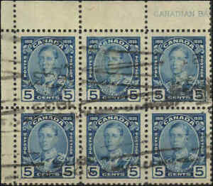 Stamp-Canada-Used-Block-of-6-1935-VF-Scott-214-5c-Silver-Jubilee-Issue