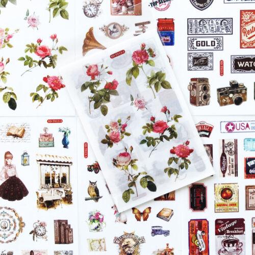 6 Hojas Vintage Floral y materiales efímeros Hoja Pegatina-diario de control Scrapbook Craft