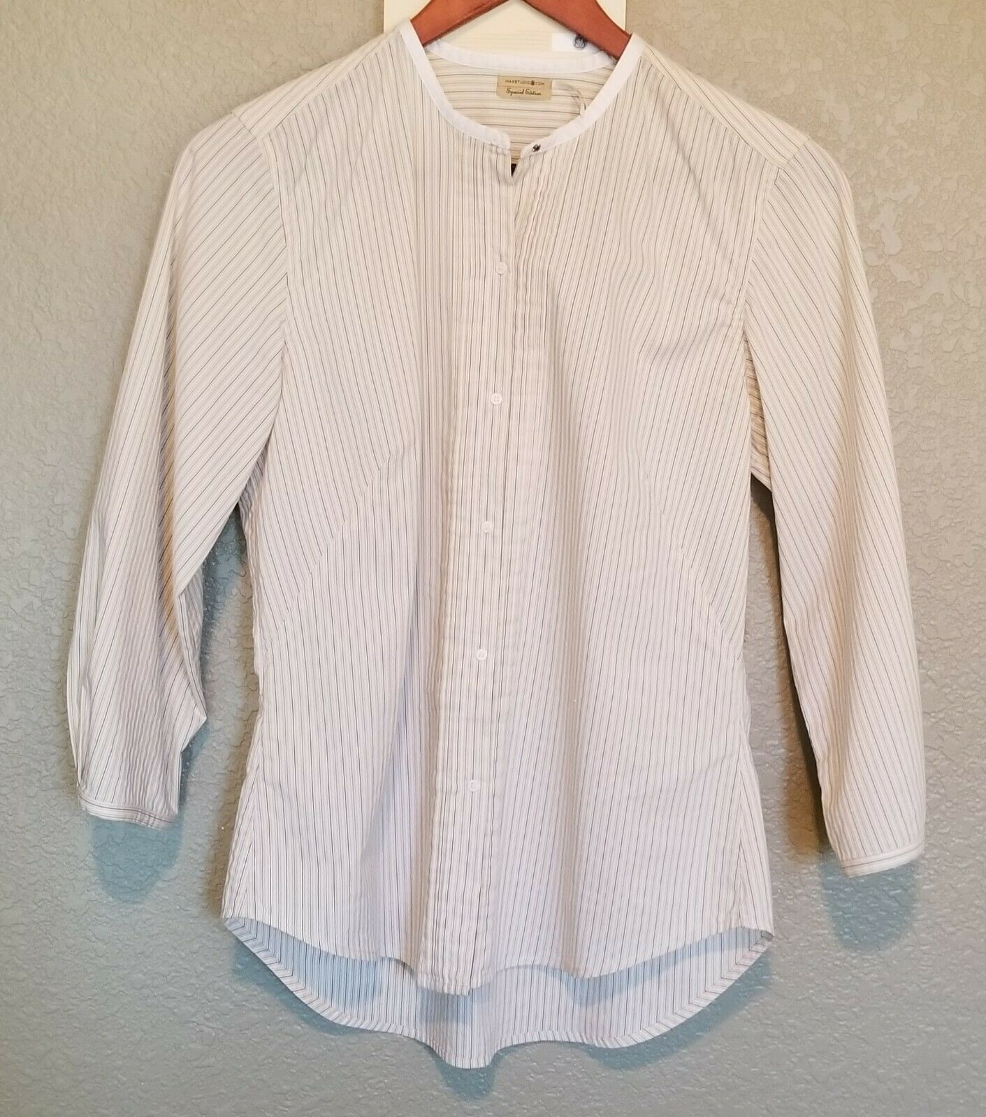 Special Edition Max Studio Womens Striped Long Sleeve Snap Button Shirt S