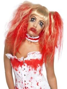 Vestito Donne Bionda Sangue Halloween Goccia Parrucca Adulte per di Accessort OcUUFq6H