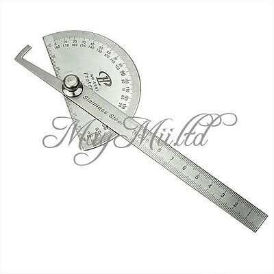 Stainless Protractor Round Head Angle Finder Craftsman Ruler Machinist Tool J