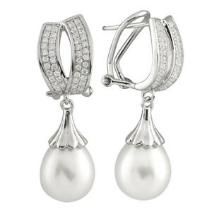 Fancy sterling silver rhodium plated omega clip earrings 9-9½mm pearls ESR-184