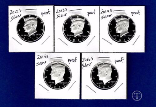 2012 S through 2016 S  SILVER PROOF Kennedy Half Dollar Set-5 Gem Proof Coins