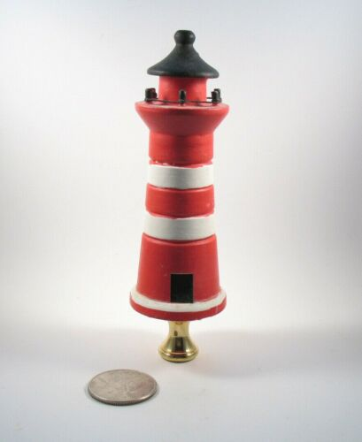 Lamp Finial Wooden Large  Red Lighthouse Painted  Lampshade Topper 41U