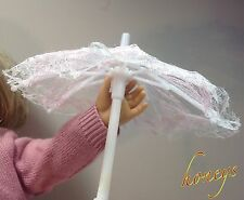 """For 15""""-18"""" Girl Dolls PINK and WHITE LACE UMBRELLA / PARASOL Opens and Closes"""
