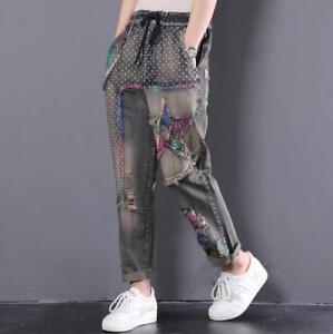 lavati Pantaloni di dei pantaloni toppa retrò pantaloni Denim moda alla vecchi sfilacciati larghi modo della di pwqp4Sv1
