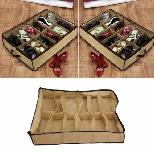 12 Pairs Shoes Storage Organizer Holder Under Bed Closet Bag Cover.