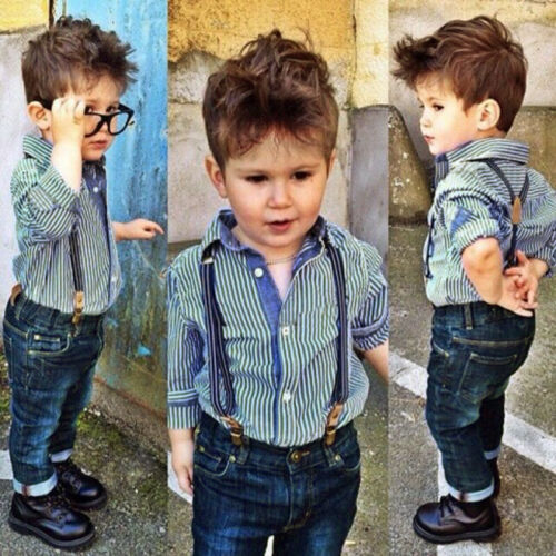 2PCS Toddler Baby Boys Kids Shirt Tops+Long Pants Clothes Outfits Gentleman Sets