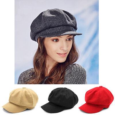 Women Baker Boy Hat Newsboy Cap Octagonal Ivy Visor Elastic Sunhat New