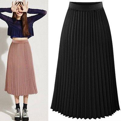 Women Chiffon Skirt Elastic Waist Pleated Ruffles Midi A-line Dress Black//Pink