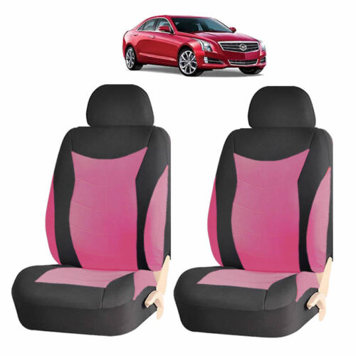 PINK /& BLACK SPEED FRONT LOWBACK SEAT COVERS SET FOR CARS 184