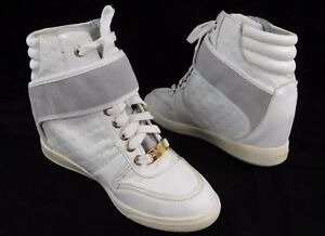 2a418664801 Image is loading Bebe-Sport-Colby-Wedge-Sneakers-White-Size-5