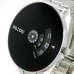 Silver-Stainless-Steel-PAIDU-Quartz-Wrist-Watch-Black-Turntable-Mens-Womens-Gift