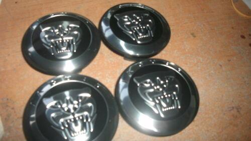 JAGUAR XJ XK S-TYPE R XKE WHEEL RIM CENTER CAPS W JAGUAR LOGO NEW SET OF 4 BLACK