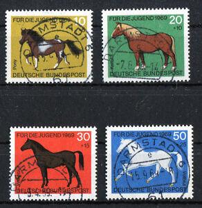 Bund-578-581-gestempelt-Vollstempel-Darmstadt-BRD-Satz-Pferde-1969-used