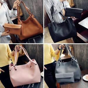 Women-2pcs-set-PU-Leather-Tote-Shoulder-Handbag-Purse-Shopper-Clutch-Bag-Satchel