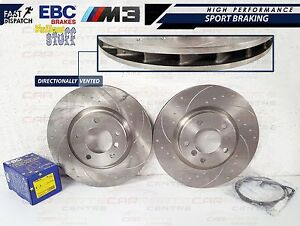 BMW-E36-M3-EVO-FRONT-DIMPLED-GROOVED-BRAKE-DISCS-EBC-YELLOW-PADS-SENSORS-WIRES