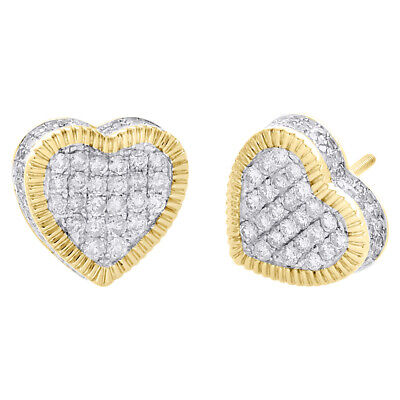 10k Oro Amarillo De Forma De Corazón señoras 11mm pendientes con blanco redondo Solitaire