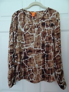JOE-FRESH-LADIES-SIZE-SP-L-SLEEVE-ANIMAL-PRINT-TOP-GIRAFFE-POLYESTER-LKN