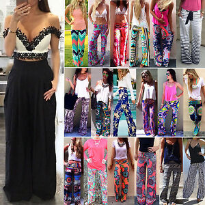 3a83457bf48 Womens Boho Floral Long Pants Palazzo Wide Leg Yoga Loose Baggy ...