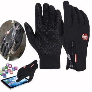 UK Winter Warm Windproof Anti-slip Thermal Touch screen Gloves Zipper