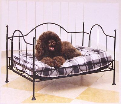 Four Post Luxurious Metal Bed Frame Pet Bed-Deluxe Animal Print Zebra-Cat & Dog