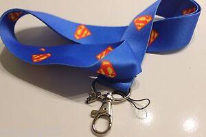 DC-comics-SUPERMAN-Lanyard-Neck-Strap-Keychain-ID-Badge-Holder-Blue-shield