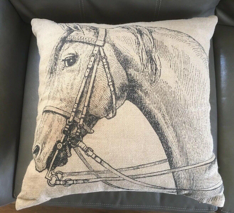 Burlap Horse Pillow Country Equestrian Farmhouse Lady Antebellum Heartland Rider