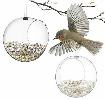 Eva Solo Set Of 2 Glass Hanging Mini Bird Food Seed Feeders - 571032
